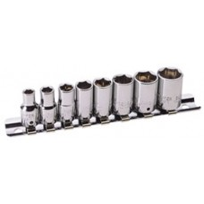 "DRAPER Expert 8 Piece 1/4"" Square Drive Hi-Torq  Hexagon Socket Set on Socket Rail"