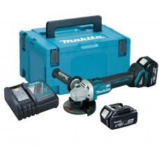 MAKITA DGA456RTJ 18V 115MM BRUSHLESS ANGLE GRINDER KIT 2 X 5.0AH BATTERIES