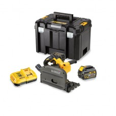 DEWALT DCS520T2 54V XR FLEXVOLT BRUSHLESS PLUNGE SAW 2 X 6.0AH BATTERIES - 2 RAILS