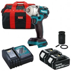 Makita DTW285TX2 18V Brushless Impact Wrench 2 X 5.0AH Batteries,Carry Case Charger & socket