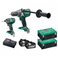 Hitachi KC18DPL2/JA Brushless Combi + Impact Kit with 2 x 6AH Batteries