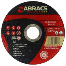 ABRACS EXTRA THIN METAL CUTTING DISCS 115MM X 1.0MM PACK 10 IN METAL TIN